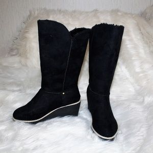 Shoes - Brand new black Vegan Suede Wedge Boots Size 7M